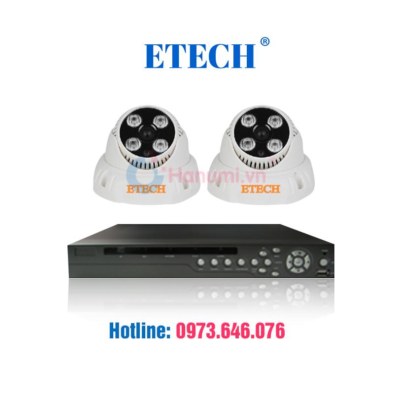 Trọn bộ 2 camera quan sát Etech 1.3MP giá 2.4tr