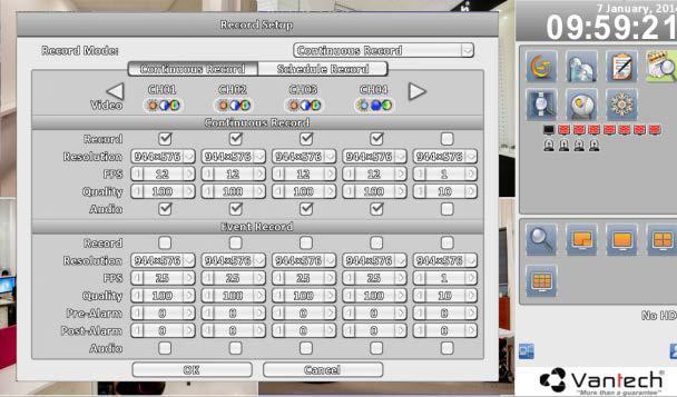 Hình 5: Giao diện thiết lập chuẩn ghi hình cho các kênh