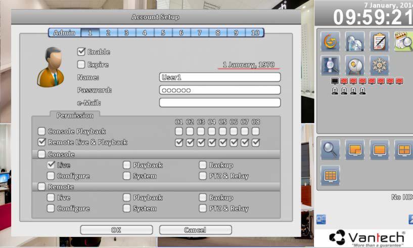 Hình 12: Thiết lập quản lý tài khoản người dùng