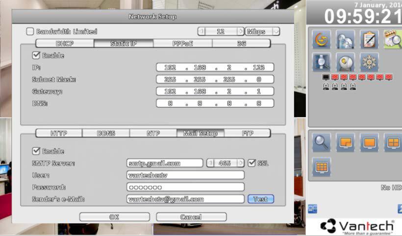 Hình 15: Thiết lập báo động qua Email.